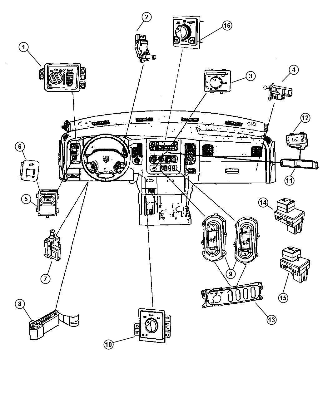 Dodge Ram 2500 Switch  Ignition  Column  Steering  Tilt