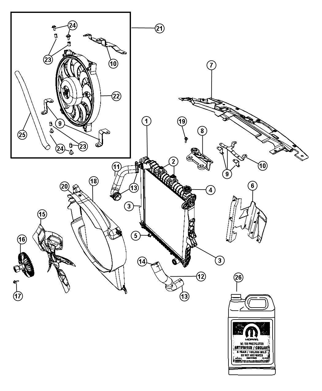 Dodge Durango Fan Module Package  Radiator Cooling