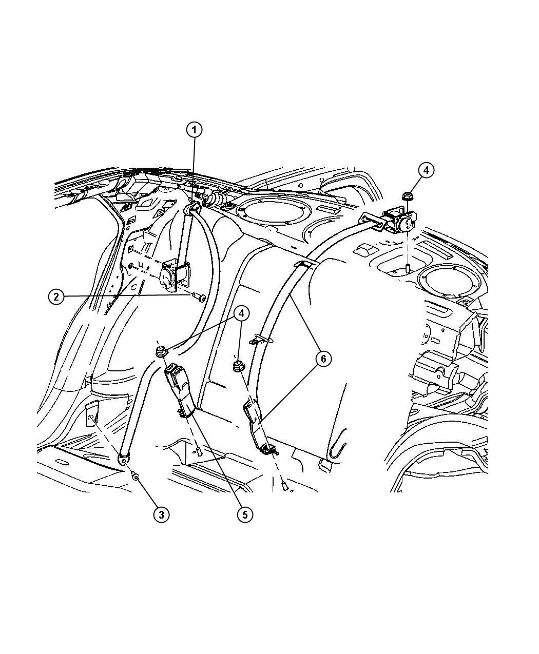 Dodge Charger Seat Belt  Rear Center Shoulder  Trim   All Trim Codes  Color   Dk Khaki