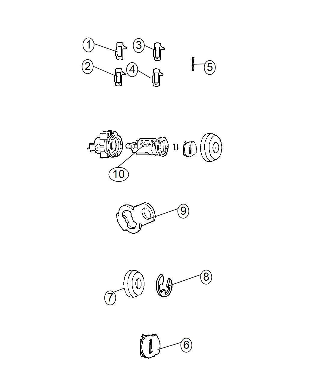 Dodge Avenger Cap  Door Lock Cylinder  Liftgate Lock Cylinder